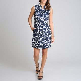 Lennie for Nina Leonard Women's Navy Aztec Printed Shirtdress