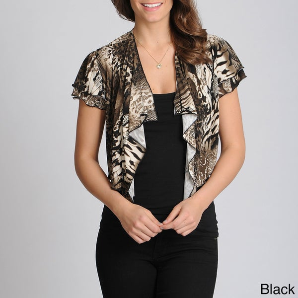 Lennie for Nina Leonard Women's Animal Print Shrug