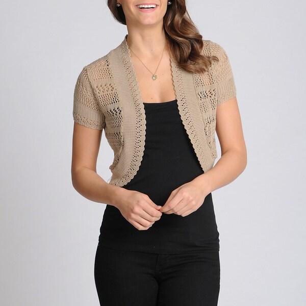 Lennie for Nina Leonard Women's Sandalwood Crochet Shrug