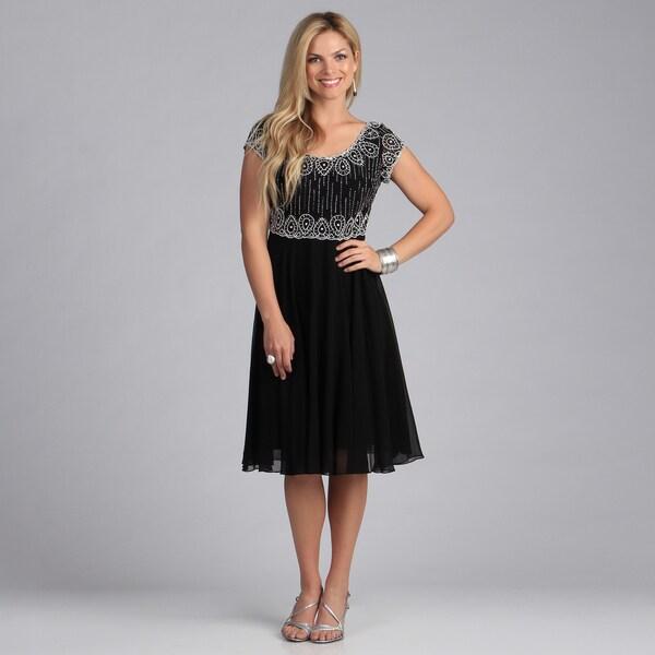 J Laxmi Women's Black Beaded Chiffon Dress