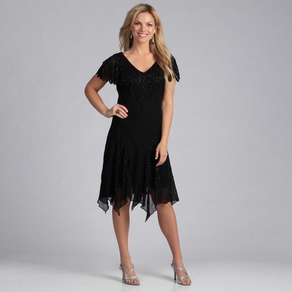 J Laxmi Women's Black Beaded Godet Dress