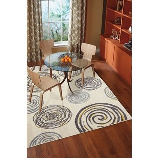 Mohawk Home Free Flow Swirlz Yellow Area Rug (7'6 x 10')