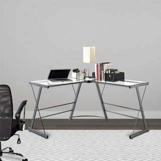 Ameriwood Home Odin Glass L-shaped Computer Desk