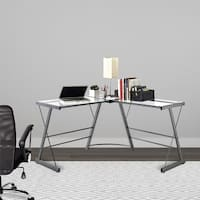 Avenue Greene Thomas Clear Glass L-shaped Computer Desk with Grey Metal Frame