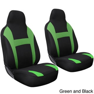 Oxgord 2-piece Integrated High Back Universal Fit Bucket Seat Cover Set for Two Front Chairs (Option: Green and Black)