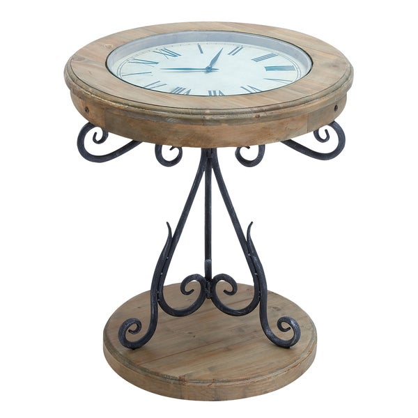 Casa cortes exposed wood round clock end table free for Clock coffee table round