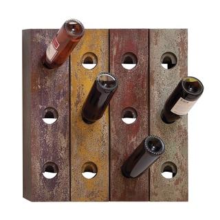 Aged Wood Multi-color Wall Mount 12-nottle Wine Rack