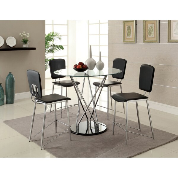 Furniture of America Martin 5-Piece Counter Height 42-inch Tempered Glass Dining Set