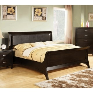 Furniture of America Jisc Contemporary Brown Queen Padded Sleigh Bed