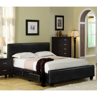 Furniture of America Larington Modern Leatherette Platform Bed with Storage