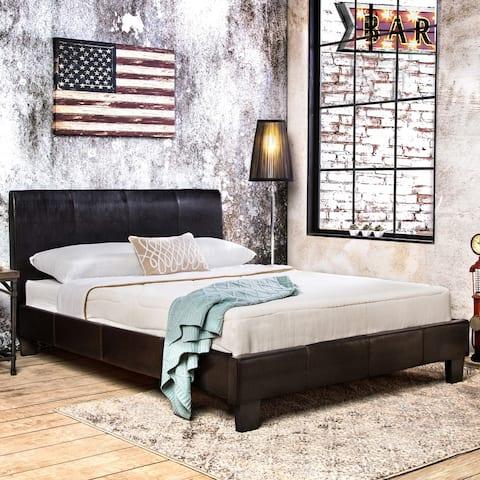 Furniture of America Villazo Modern Espresso Faux Leather Platform Bed
