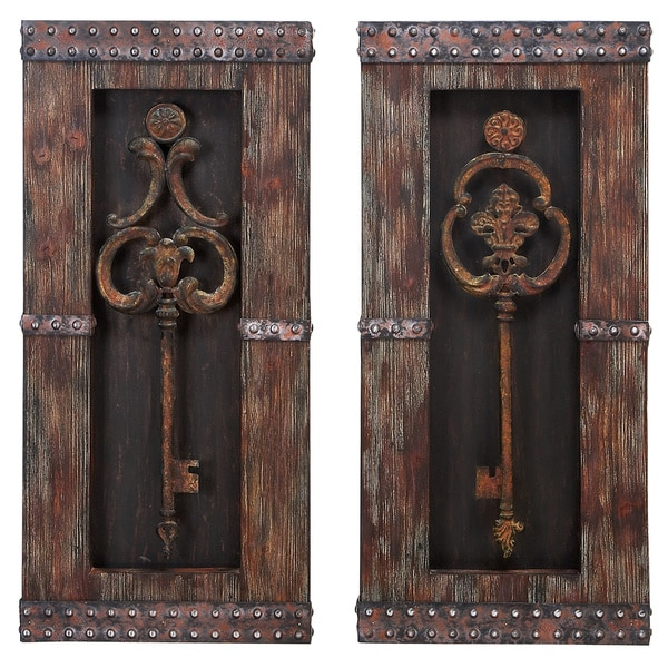 Antique Cream Wood Metal Wall Decor: Shop Handcrafted Vintage Metal Keys 2-piece Wall Art Decor