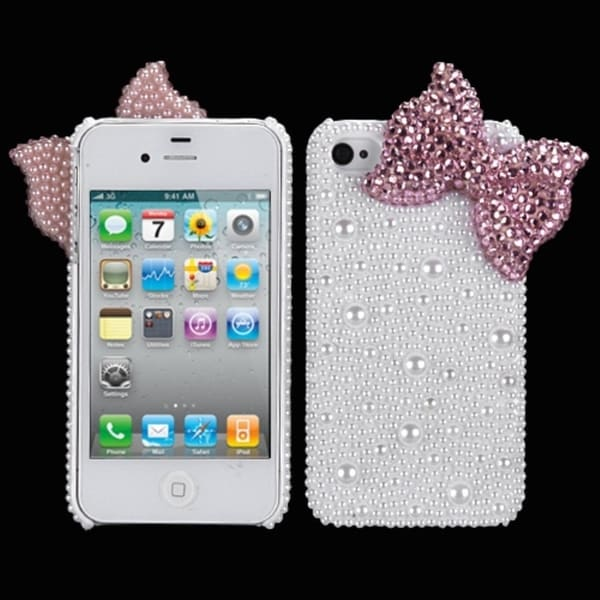 INSTEN Pink Bow Pearl Diamante Case Cover for Apple iPhone 4/ 4S