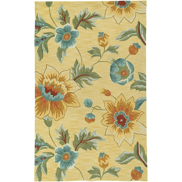 LNR Home Enchant Yellow Floral Area Rug (7'9 x 9'9)