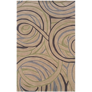LNR Home Fashion Beige Geometric Circles Area Rug (9' x 12'9)
