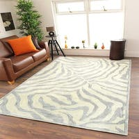 LR Home Hand Tufted Fashion Modern Zebra Taupe/ Silver Wool Rug - 5' x 7'9