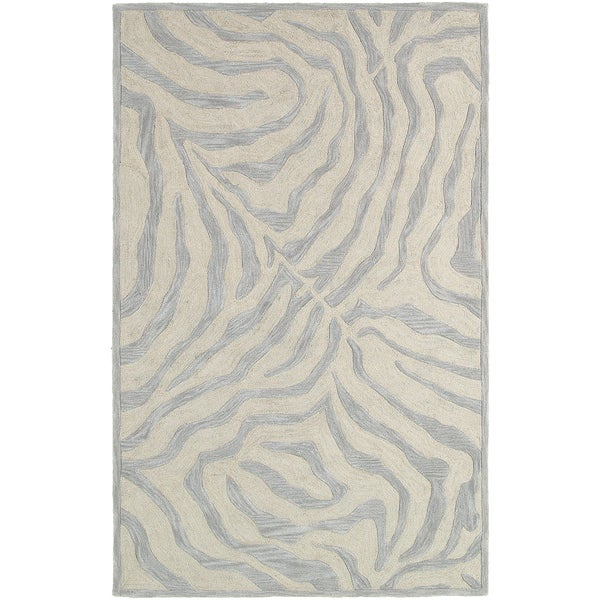 LNR Home Fashion Taupe/ Silver Geometric Animal-print Area Rug (7'9 x 9'9)