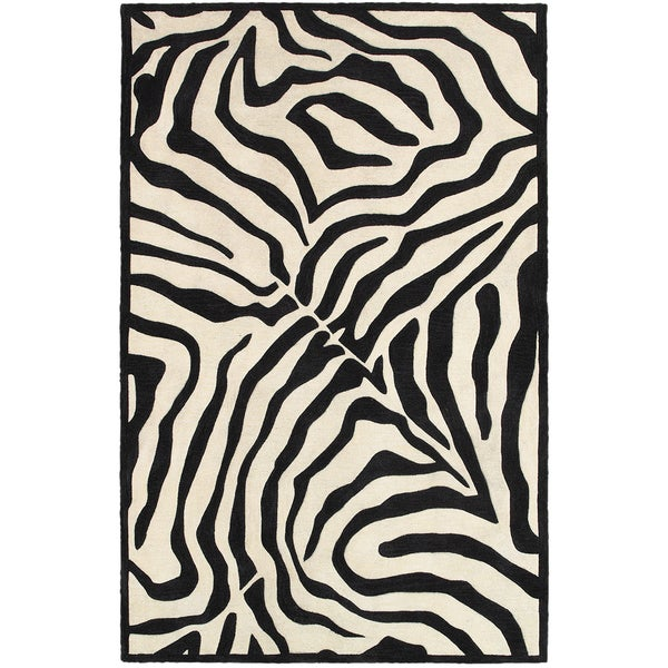 LR Home Fashion Black/ Cream Animal-print Area Rug (7'9 x 9'9)