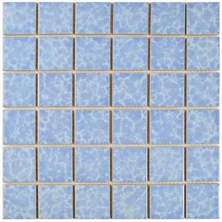 SomerTile 11.875x11.875-in Watermark Square 2-in Alboran Porcelain Mosaic Tile (Pack of 10)