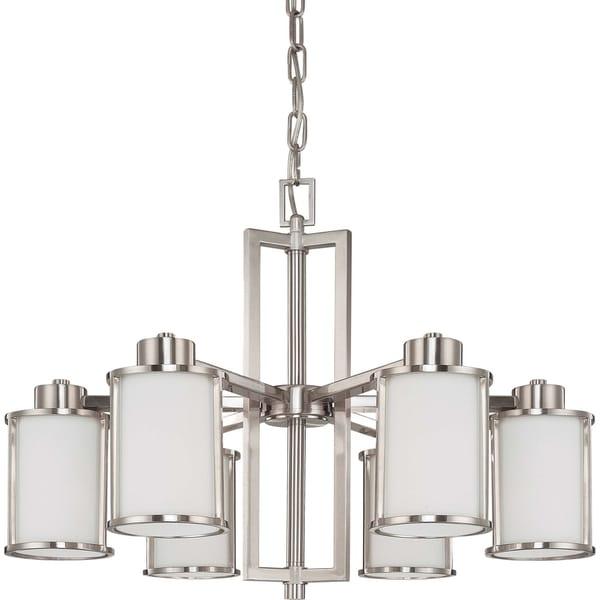 Nuvo Odeon 6light Brushed Nickel Chandelier Free Shipping Today – Brushed Nickel Chandelier Lighting