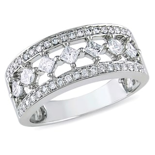 Miadora 10K White Gold 1/2ct TDW Princess-cut Diamond Ring