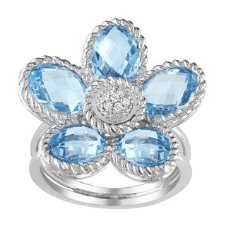 Miadora Sterling Silver Blue Topaz and Diamond Flower Ring