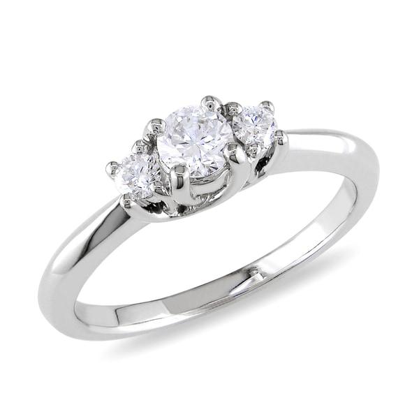 Miadora 14k White Gold 1/2ct TDW Diamond Three Stone Ring (G-H, 11-I2)