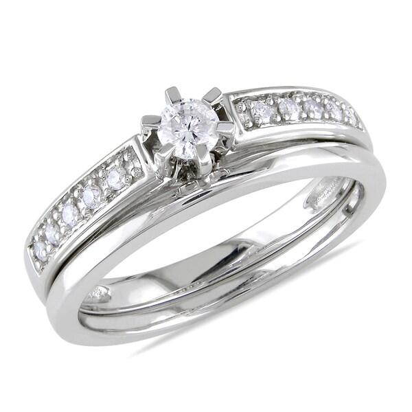 Miadora 10k White Gold 1/4ct TDW Diamond Bridal Ring Set
