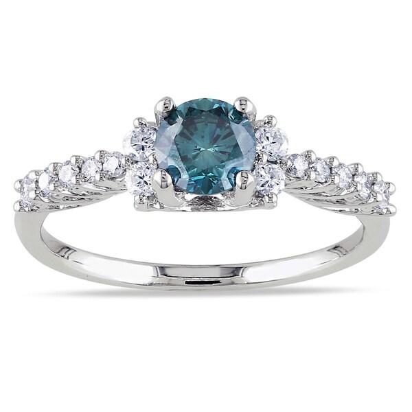 Miadora 14k Gold 3/4ct TDW Blue and White Diamond Ring (I1-I2)