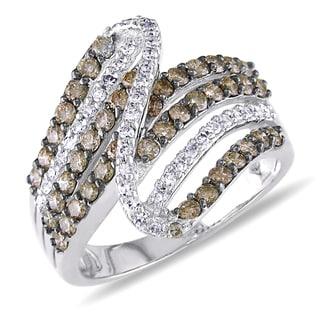 Miadora 14k White Gold 1ct TDW Brown and White Diamond Ring