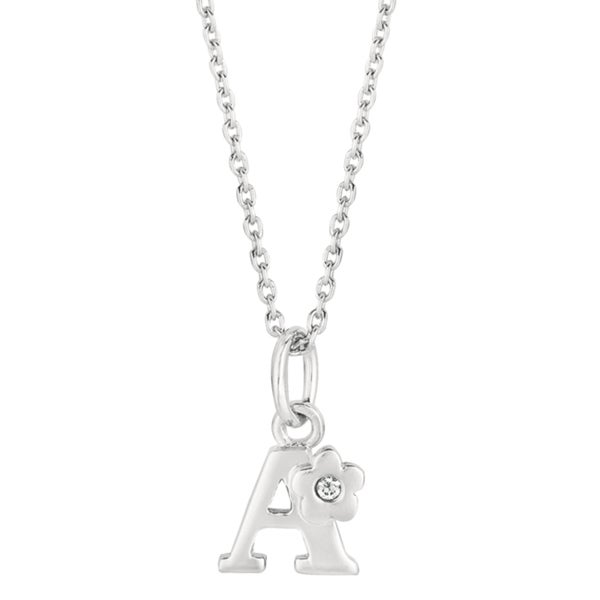 Sterling Silver Diamond Accent Flower Design Initial Necklace