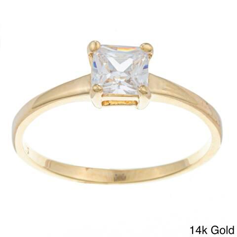 Roberto Martinez Silver Princess-cut Cubic Zirconia Solitaire Ring