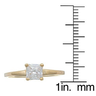 Sterling Essentials Silver Princess-cut Cubic Zirconia Solitaire Ring