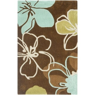 Safavieh Handmade Modern Art Floral Gardens Brown/ Multicolored Polyester Rug (3' x 5')
