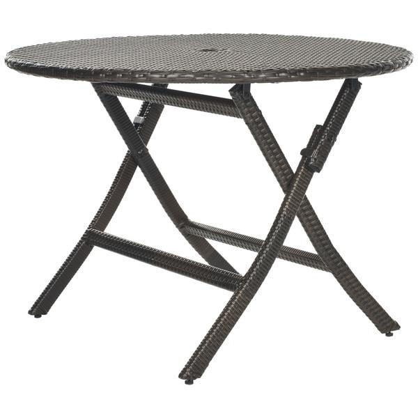 Safavieh outdoor living brown pe wicker round folding table 15295736