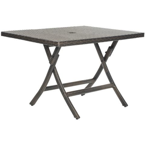 "Safavieh Outdoor Living Brown PE Wicker Square Folding Table - 42.1""x42.1""x29.1"""