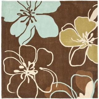 Safavieh Handmade Modern Art Floral Gardens Brown/ Multicolored Polyester Rug (5' Square)