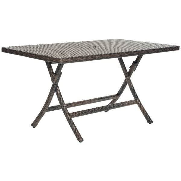 "Safavieh Outdoor Living Brown PE Wicker Rectangle Folding Table - 55.1"" x 31.5"" x 28.3"""
