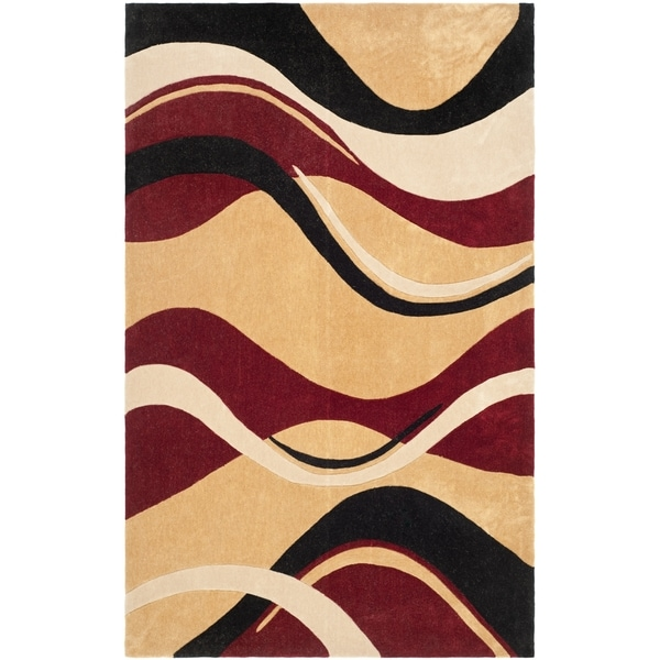 Safavieh Handmade Modern Art Abstract Waves Rust/ Ivory Polyester Rug (9' x 12')