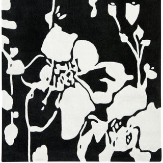 Safavieh Handmade Modern Art Midnight Black/ Ivory Polyester Rug (5' Square)