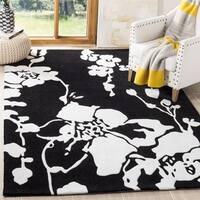 Safavieh Handmade Modern Art Midnight Black/ Ivory Polyester Rug - 5' Square