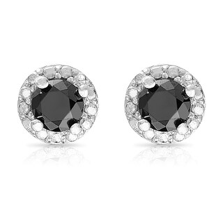 Finesque Sterling Silver Black Diamond Halo Stud Earrings