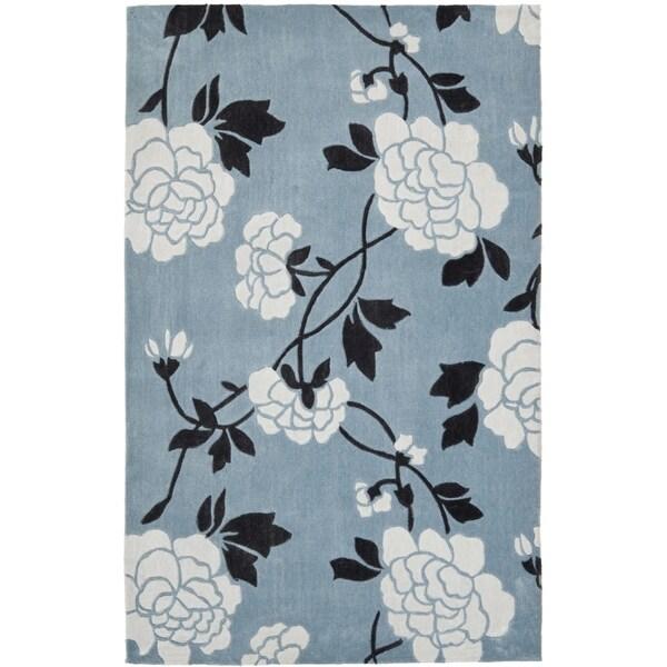 Safavieh Handmade Modern Art Harmony Floral Blue/ Ivory Polyester Rug (9' x 12')