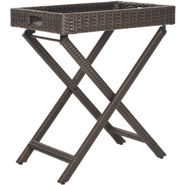 Amazing Safavieh Outdoor Living Brown PE Wicker Folding Tray Side Table