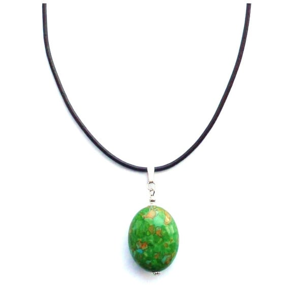 Every Morning Design Green Turquoise Drop On Leather Necklace