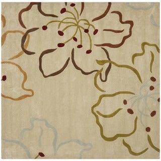 Safavieh Handmade Modern Art Floral Paradise Light Grey/ Multicolored Polyester Rug (7' Square)