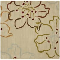 Safavieh Handmade Modern Art Floral Paradise Light Grey/ Multicolored Polyester Rug (7' Square)