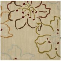 Safavieh Handmade Modern Art Floral Paradise Light Grey/ Multicolored Polyester Rug - 7' Square