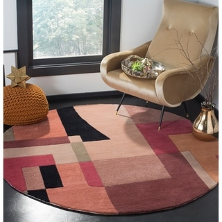 Safavieh Handmade Rodeo Drive Modern Abstract Rust/ Multi Wool Rug (4' Round)