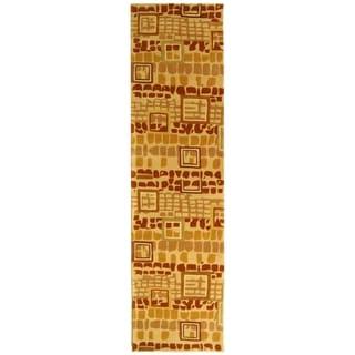 Safavieh Handmade Rodeo Drive Modern Abstract Beige/ Rust Wool Rug (2'6 x 12')